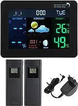 Väderklocka inomhus termometerhygrometer med kalender Flera väderprognoser Månfasvisning EU 230-240V