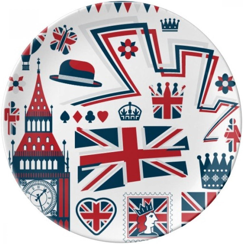 Tower Big Ben Ballon Soldier UK Landmark Flag Decorative Porcelain Dessert Plate 8 inch Dinner Home Gift