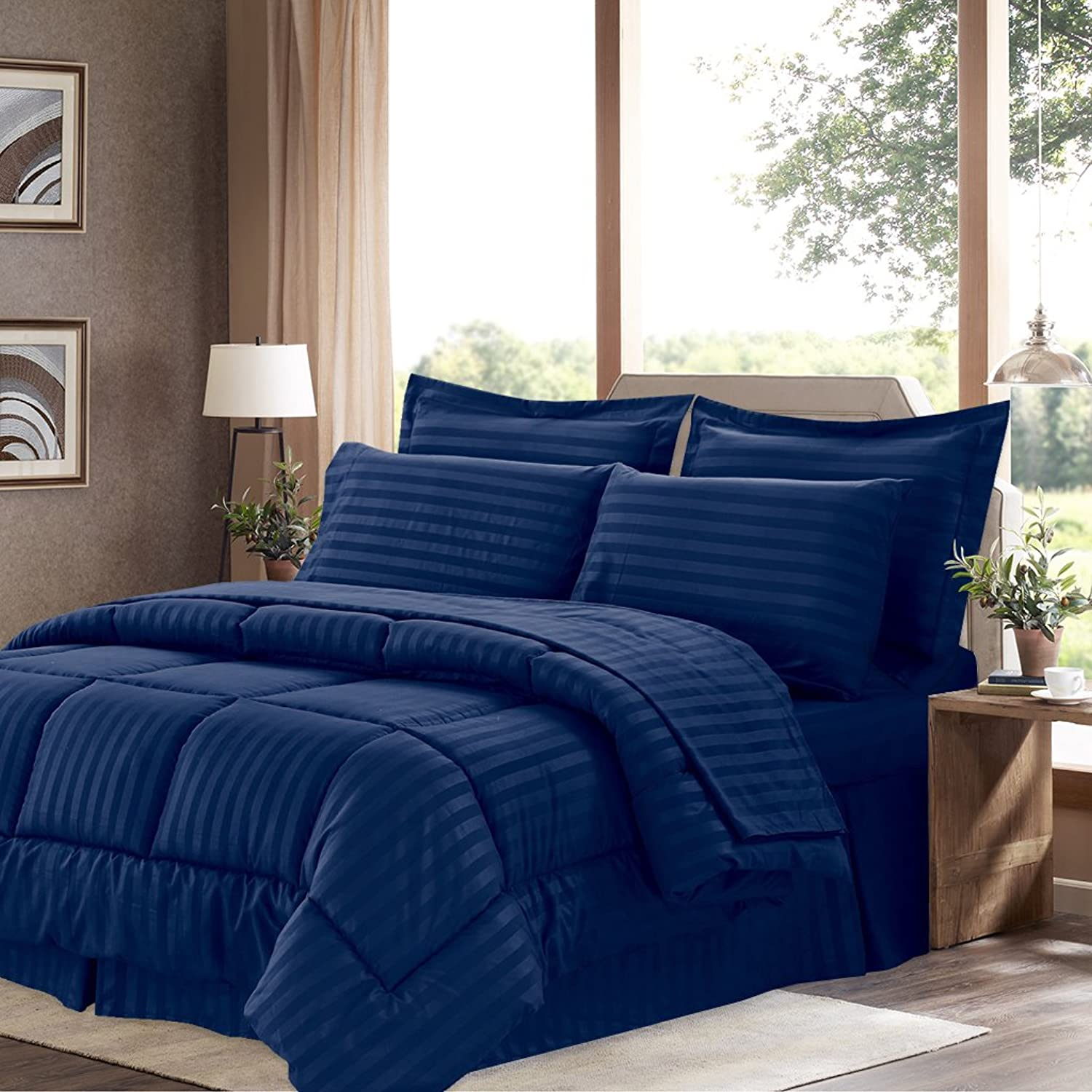 Sweet Home Collection 6 Piece Bed in a Bag with Dobby Stripe Comforter, Sheet Skirt, and Sham Set, Twin, Navy, 6