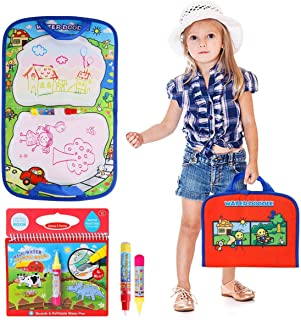 BBLIKE Aqua Travel Doodle Mat Water Reusable Magic Foldable Board Non-Toxic Canvas with 1 Coloring Magic Water Drawing Book , 2 Water Pen Included, for 1 2 3 4 5 6 Year Old Boys Girls Toddlers Gifts