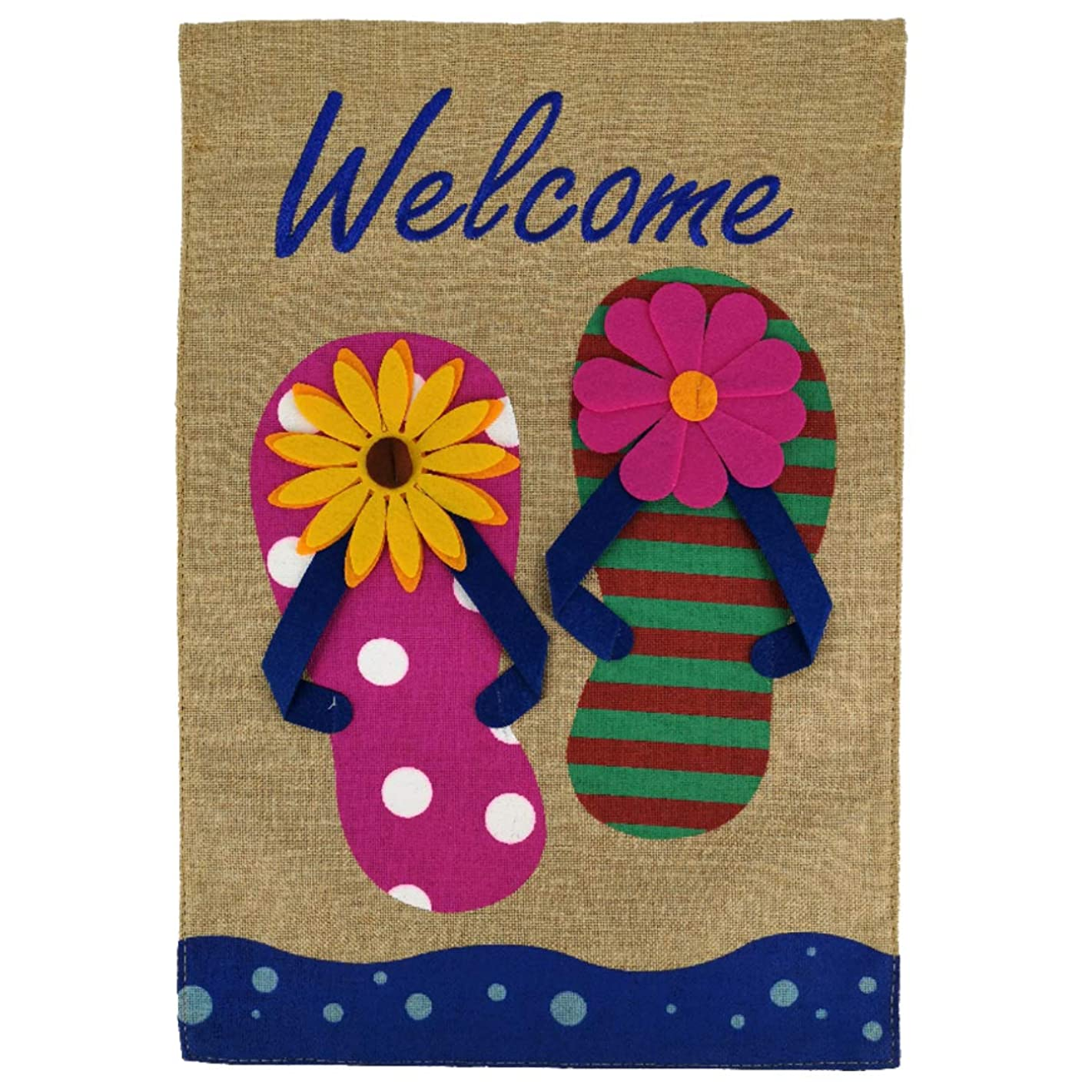 Texupday Welcome Summer Floral Flip Flop Burlap Summer Holiday Double Sided Garden Flag Beach Embroidered Outdoor Yard Flag 12