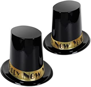 """Beistle Tall New Years Eve Top Hats 25 Piece, 7.5"""", Black/Gold"""