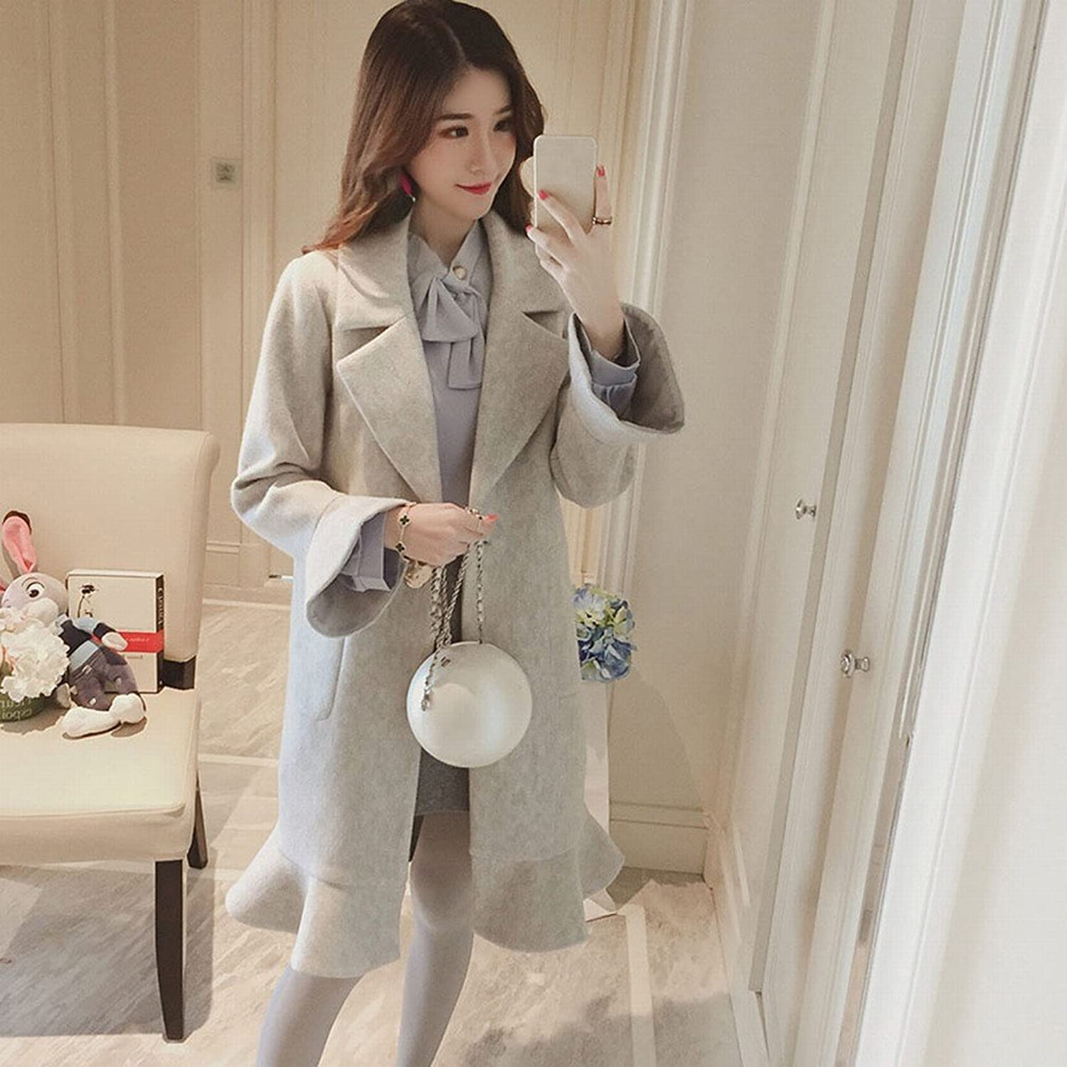 MIF Trumpet Sleeves Lotus Leaf Coat Jacket Female Long Section of Autumn and Winter Loose Coat Student Windbreaker