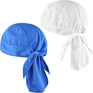 Helmet Liner Doo Rag Skull Cap 2-Pack Multifunctional Sweat Wicking Breathable Quick Drying Sport Beanie for Running Cycling Pirate Scarf Hat Headwraps