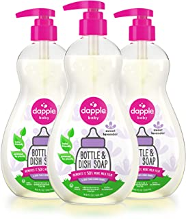 Sponsored Ad - DAPPLE Baby Bottle and Dish Soap, Lavender Dish Liquid, Plant Based, Hypoallergenic, 1 Pump Included, 16.9 ...
