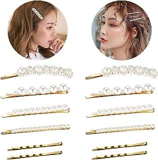女士女孩珍珠发夹,Funtopia 时尚甜美人造珍珠发夹发夹,日常派对婚礼装饰发饰,可适用于 Bun Updo