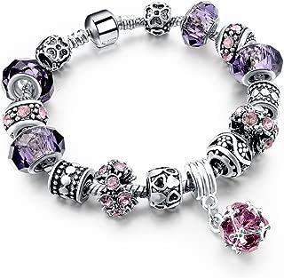 Purple And Pink Glass Flower Bead Silver Tone Chain Love Heart Charm Bracelet 7.5