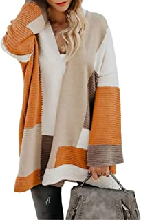 Byinns Women Sweater Cardigan Oversized Color Block Long Bell Sleeve Loose Fitting Chunky Baggy