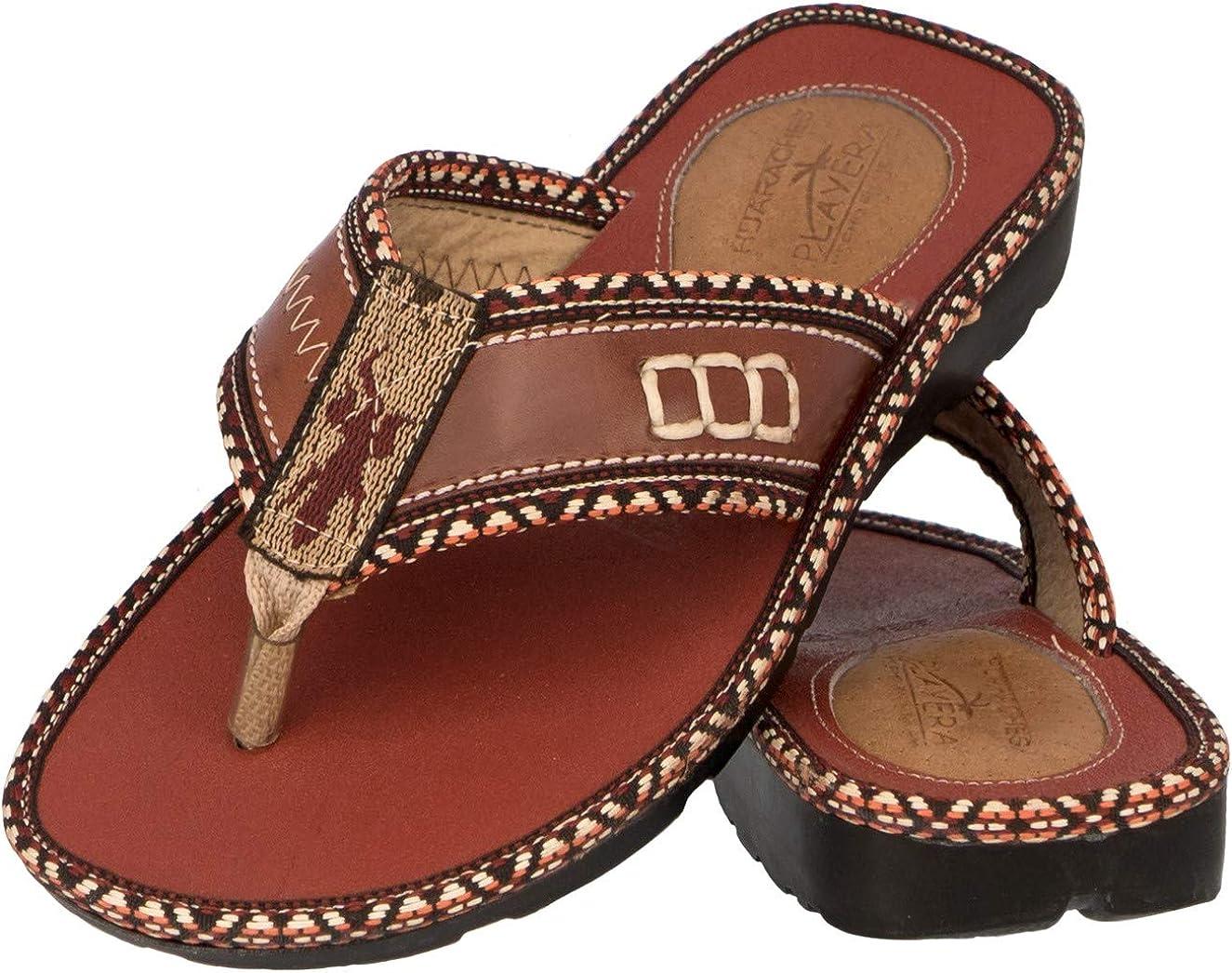 Cowboy Professional Men's Rustic Cognac Brown Leather Sandals Authentic Mexican Huaraches Flip Flops