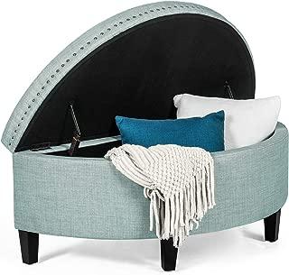 Adeco Modern Fabric Half Moon Storage Ottoman Bench, 44x19x17.5 Pastel Blue