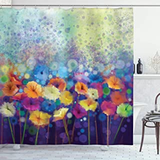 Ambesonne Spring Shower Curtain, Abstract Floral Petals in Misty Tones Daisy Gerbera Dandelion Blossom Meadow Paint, Cloth Fabric Bathroom Decor Set with Hooks, 75