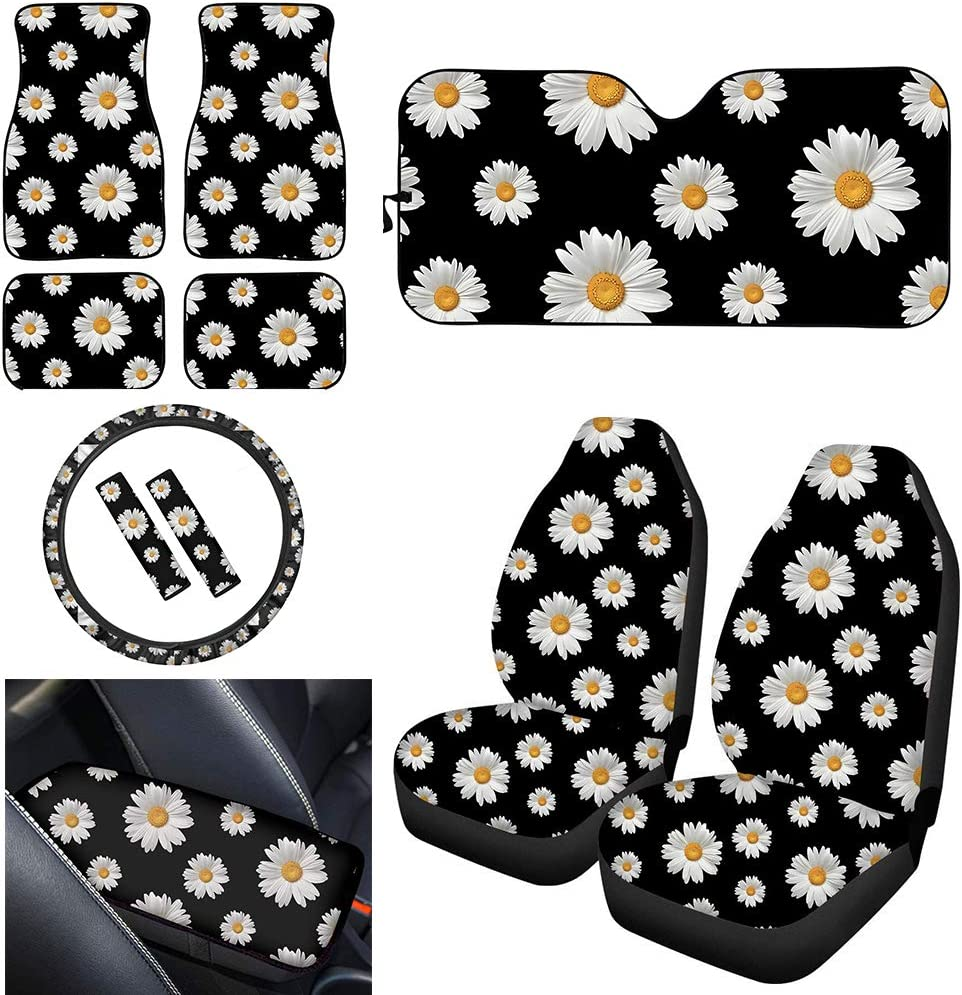 UNICEU Decorative Daisy Flower Customized Front Seat Cover C Jacksonville Mall Car Max 47% OFF