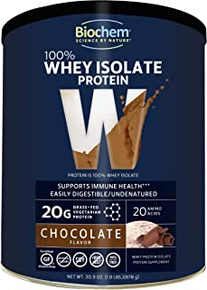 Biochem 100% Whey Isolate Protein - Chocolate - 30.9 oz - Pre & Post Workout - Meal Replacement - Keto-Friendly - 20g of P...