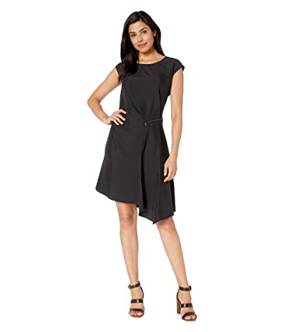 American Rose Valentina Cap Sleeve Dress with Zipper Detail (Black) Women