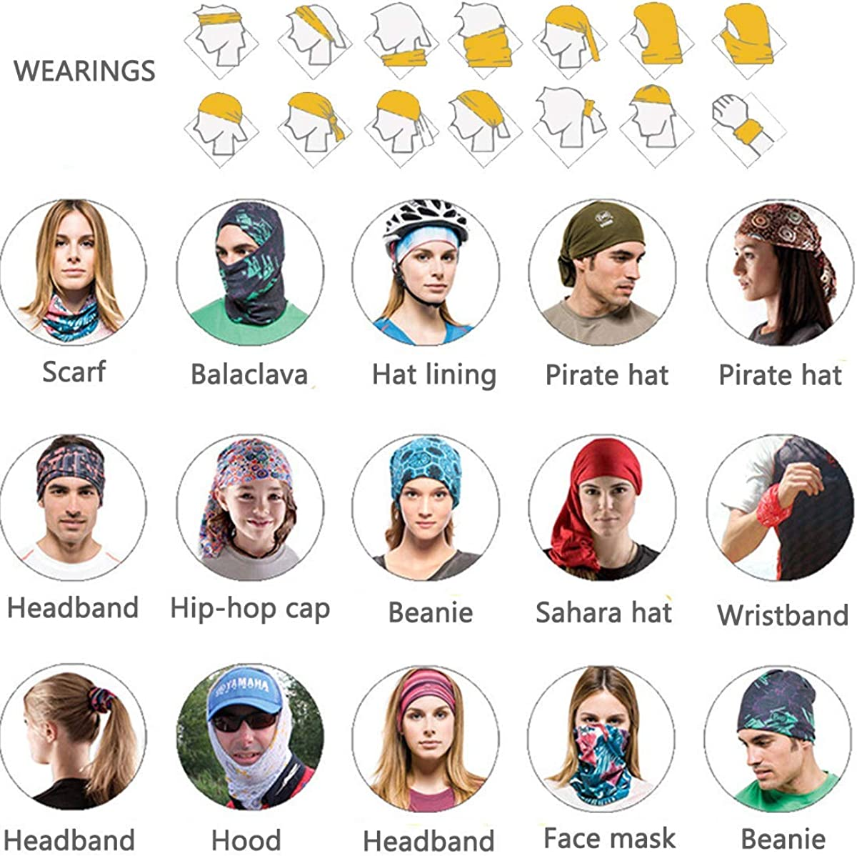 Men's Headscarf face Scarf Cover Scarf dust Wind Ultraviolet Sunscreen Protection Seamless Neck Headdress