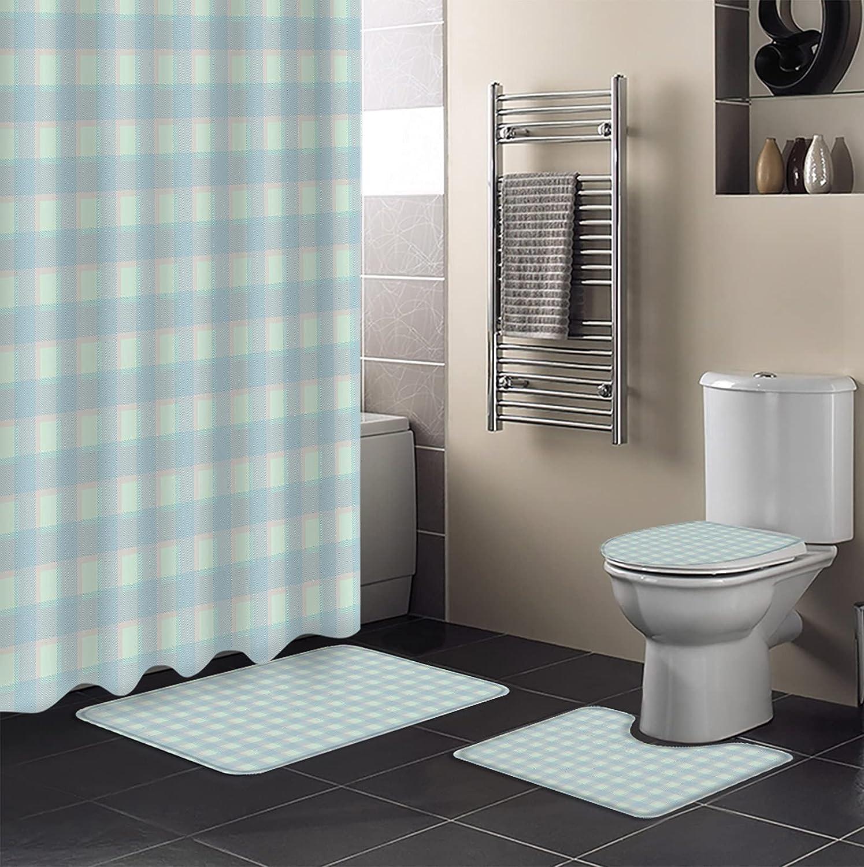 LEOKOTI 4 Pcs Bathroom Set with Non-Slip Bath Curtain Shower Bargain sale Direct stock discount Mat