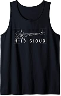 H-13 Sioux Korean War Helicopter Vintage Blueprint Gift Tank Top