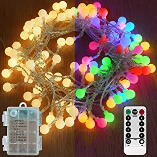 Abkshine 2 in 1 Warm White Color Changing LED Outdoor String Lights, Battery Operated Globe Fairy Lights with Remote, Multicolored Patio Umbrella Lights(Waterproof,33ft 100leds)