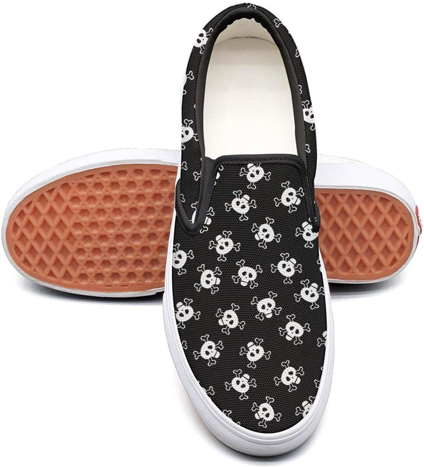 Skulls Fun Halloween Slip On Rubber Sole Sneakers Canvas shoes for Women Round Toe