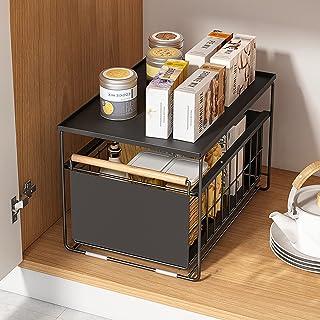 HUIJ Organisateur d'armoire empilable sous évier,avec tiroir à Panier Coulissant,étagère à épices,Panier Coulissant sous é...