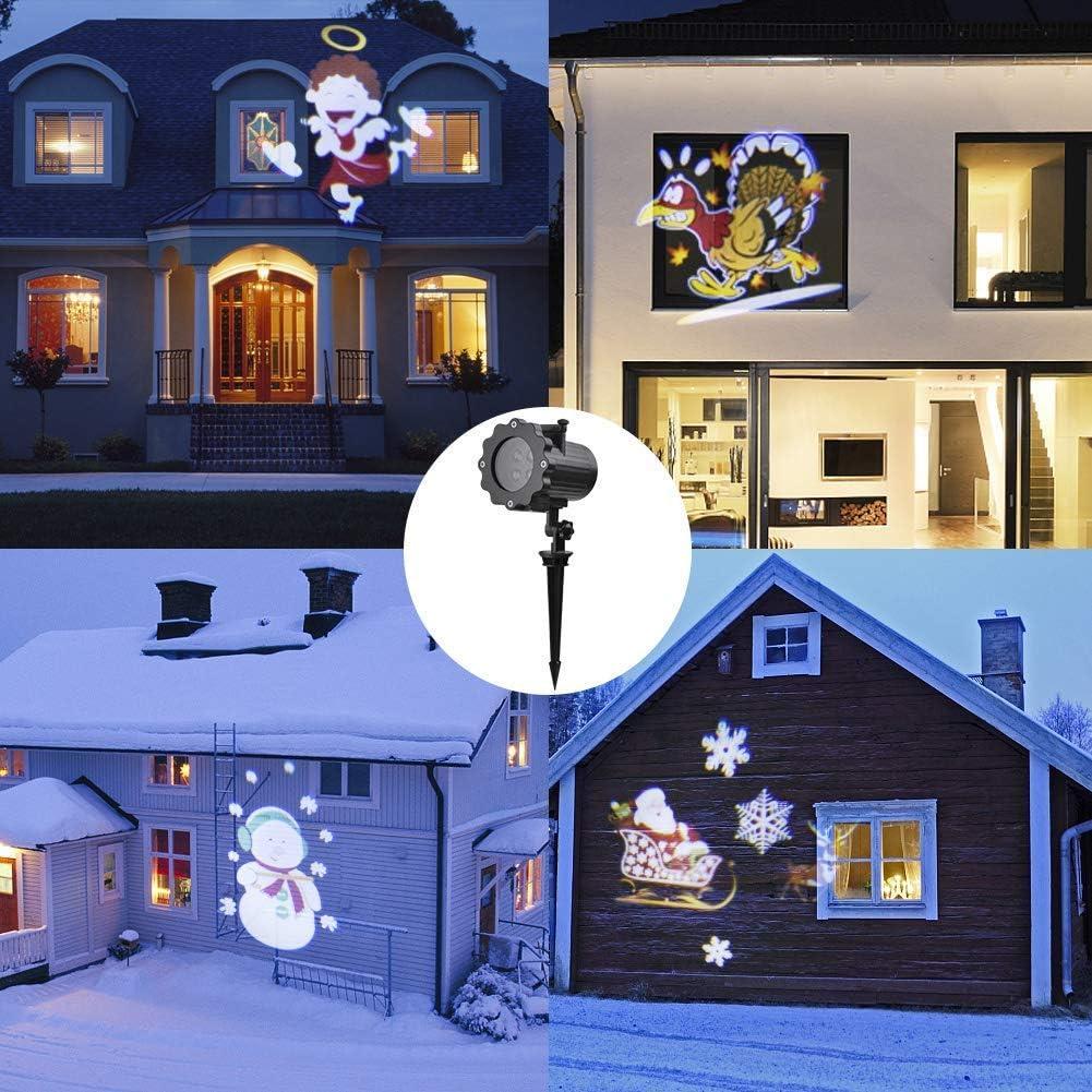 Viugreum Led Projektionslampe Außen, Viugreum Led Projektor Weihnachtsbeleuchtung mit 12 Motiven, Wasserdicht IP65 Projektor Weihnachten für Karneval, Festen und Dekoration 2