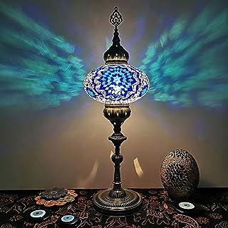 Lampadaire romantique de style turc - Abat-jour en verre taché - Lampe sur pied vintage pour salon, canapé, hôtel, café, a...