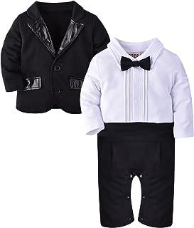 ZOEREA 2tlg Baby-Jungen Bekleidungssets Strampler  Anzug Mantel Gentleman Baumwolle Weiß Stripe Drucken Bowknot Langarm Baby-Taufe Hochzeit Weihnachten für Frühling Herbst und Winter