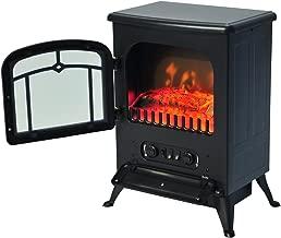 HomCom Chimenea Eléctrica con Efecto Leña - Color Negro - Vidrio Templado 3mm y Chapa de Hierro - 41,5x28x54,8 cm