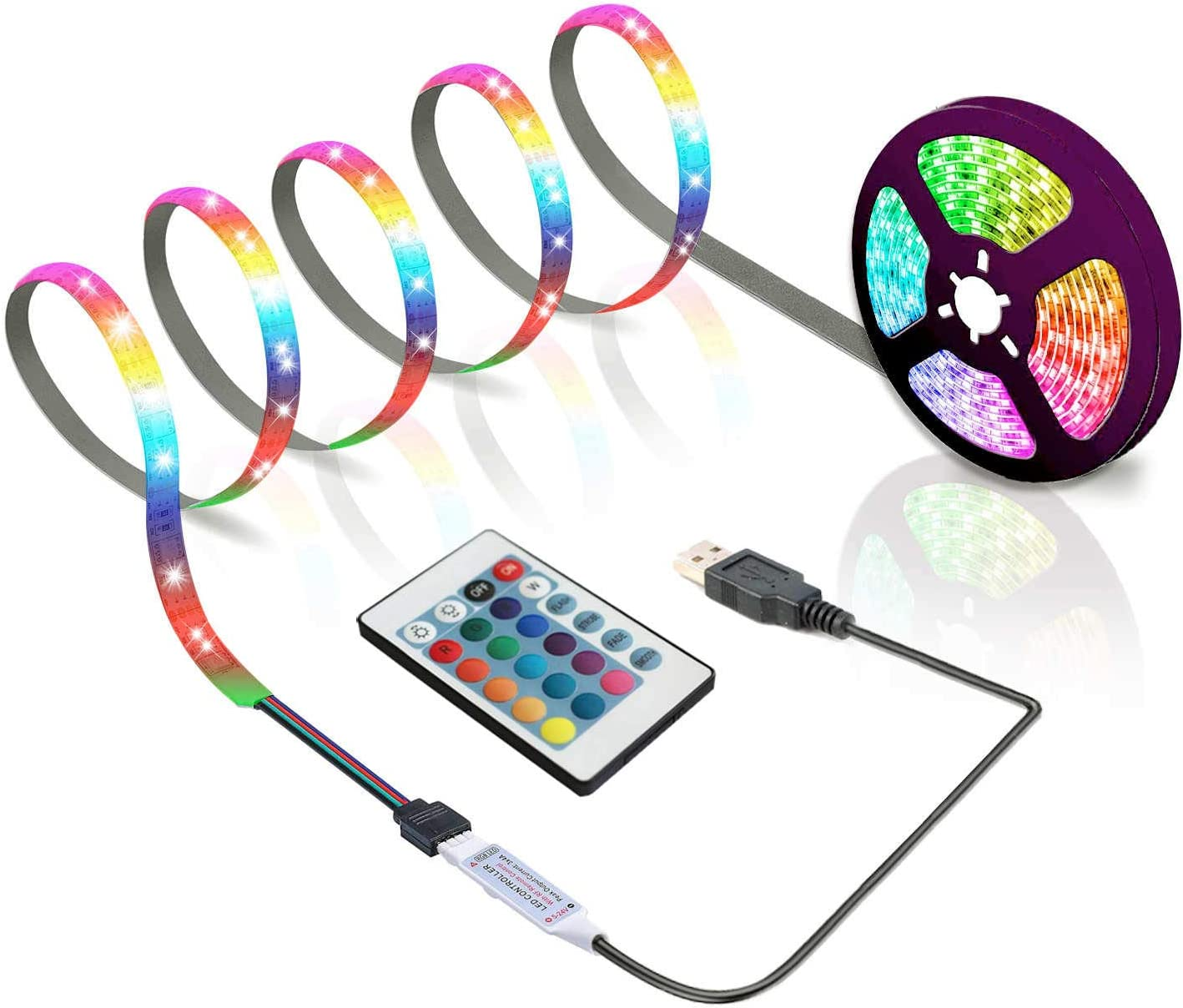 Max 71% OFF BIHAND San Diego Mall 6.56ft USB LED Strip Keys 24 with Lights Rope