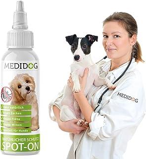 Medidog Natürlicher Spot On für Hunde 50ml zum Schutz gegen Zecken, Flöhe und Milben, Natürlicher Zeckenschutz für Hunde, Zeckenmittel, Flohschutz für 24 Monate
