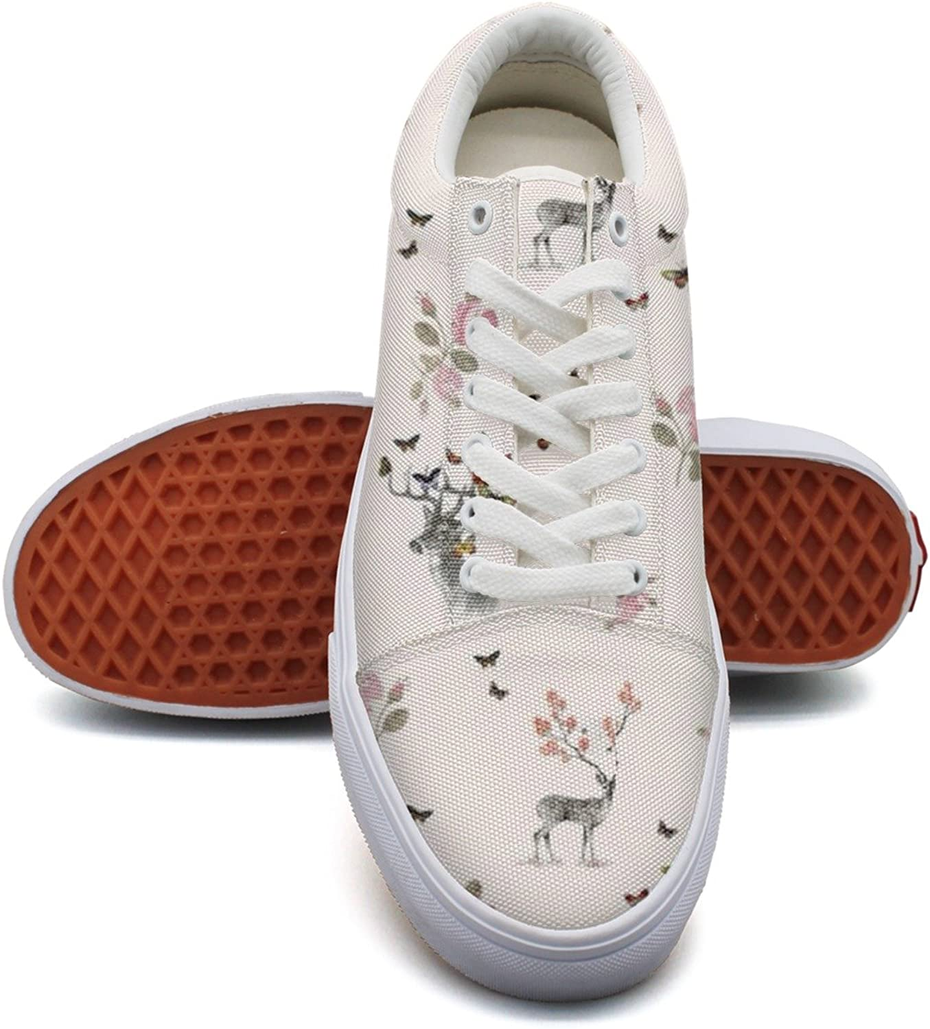 Deer pinks And Butterfly Fashion Canvas Sneaker shoes For Womns 3D Printed Low Top Canvas shoes