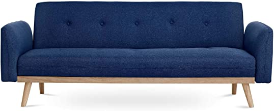 Nikko 3 Seater Sofa Bed Scandinavian Futon Couch in Blue