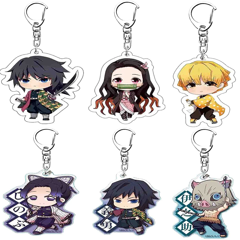Demon Slayer Keychain Kimetsu no Yaiba keyring Decor Pendant Hanging Ornament Anime Keychain Gift Set (6Pcs)