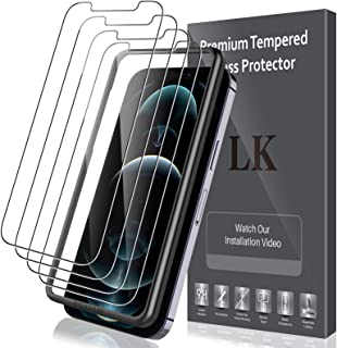 5 PACK LK 4pcs Screen Protector Tempered Glass and 1pcs Installation Tray Compatible with iPhone 12 Pro/iPhone 12 5G - 6.1...