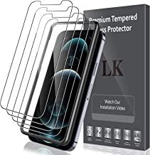 5 PACK LK 4pcs Screen Protector Tempered Glass and 1pcs Installation Tray Compatible with iPhone 12 Pro/iPhone 12 6.1-inch...