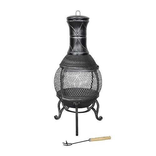 Azuma Ember Cast Iron Chiminea Fire Pit Black Patio Burner Garden Heater Charcoal Outdoor Steel Chimney