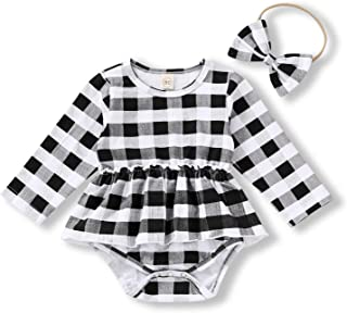 Baby Girl Plaid Bodysuit,Infant Girl Long Sleeve Romper Onesie Jumpsuit Fall Clothes Outfits