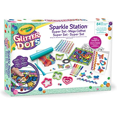 Crayola Glitter Dots - Sparkle Station Super Set, per Creare Scintillanti Decorazioni con il Glitter Modellabile, Attività Creativa e Idea Regalo, 04-1085