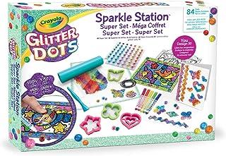 CRAYOLA 04-1085 Sparkle Station Super Set do błyszczących dekoracji z brokatowymi kropkami i narzędziami do modelowania
