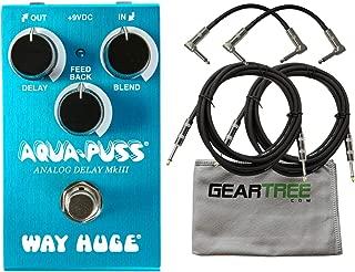 Way Huge WM71 Mini Aqua-Puss Analog Delay Pedal Bundle w/Cables