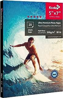 Koala Ultra Premium Photo Paper 5x7 inch High Glossy Heavyweight 80lb for inkjet printer 20 Sheets