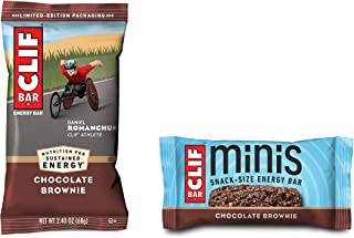 Clif Bars - Chocolate Brownie - 10 Full Size and 10 Mini Energy Bars - Made with Organic Oats - Plant Based Food - Vegetar...