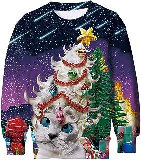 ALISISTER Ugly Christmas Jumper Sweater Niños Niñas 3D Impreso Xmas Pullover Sudaderas Otoño Invierno