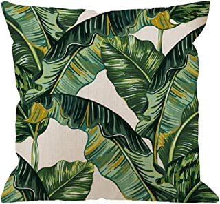 HGOD DESIGNS Palm Leaves Decorative Throw Pillow Cover Case,Tropical Palm Leaves Jungle Leaf Cotton Linen Outdoor Pillow cases Square Standard Cushion Covers For Sofa Couch Bed 18x18 inch Green