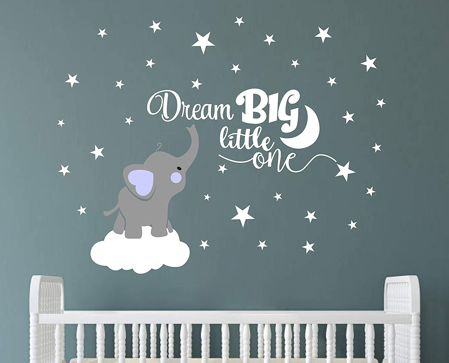 Dream Big Little One Elephant Wall Decal Quote Wall Stickers Baby Room Wall Decor Vinyl Wall Decals For Children Baby Kids Boy Girl Bedroom Nursery Decoration Y03 Bule Boy Amazon Ca Home Kitchen
