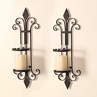 Adeco HD0006 Iron & Glass Vertical Wall Hanging Candle Holder Sconce, Scroll &..