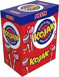 comprar comparacion FIESTA Kojak Caramelo con Palo Sabor Cereza Relleno de Chicle - Caja de 100 unidades