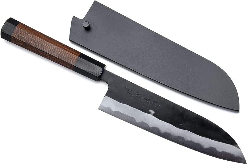 Yoshihiro Mizu Yaki Aogami Super Blue High Carbon Steel Kurouchi Santoku Chef S Knife 7 180mm Saya