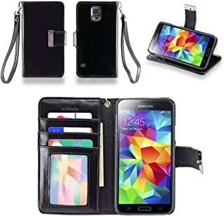 IZENGATE Wallet Case Designed for Samsung Galaxy S5 - PU Leather Flip Cover Folio with Stand (Black)