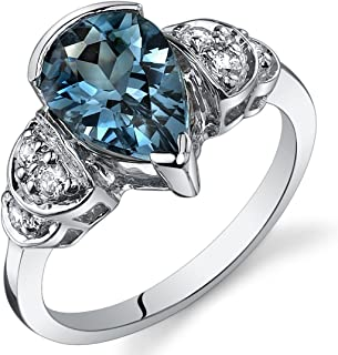 London Blue Topaz Tear Drop Ring Sterling Silver 2.00 Carats Sizes 5 to 9